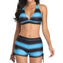 Swimwear Swimsuits Tankini-Sets Bathing-Suit Beach-Wear Two-Piece Women's Plus-Size Sports