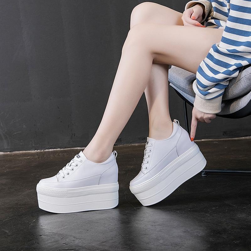 Genuine Leather 12CM High Heel Sneakers