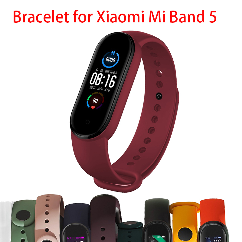 <font><b>Strap</b></font> For Xiaomi <font><b>Mi</b></font> <font><b>Band</b></font> 5 <font><b>4</b></font> <font><b>3</b></font> <font><b>Silicone</b></font> <font><b>Bracelet</b></font> for Xiaomi <font><b>mi</b></font> <font><b>band</b></font> 5 <font><b>Wristband</b></font> Sports miband 5 <font><b>4</b></font> <font><b>3</b></font> <font><b>Bracelet</b></font> band5 Replacement S image