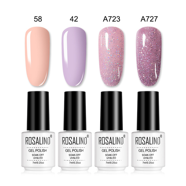 ROSALIND Nail Sets For Acrylic Manicure nail art Gel Nail Polish Kit UV LED lamp Extension Soak off  Base Top Coat  Gel Set