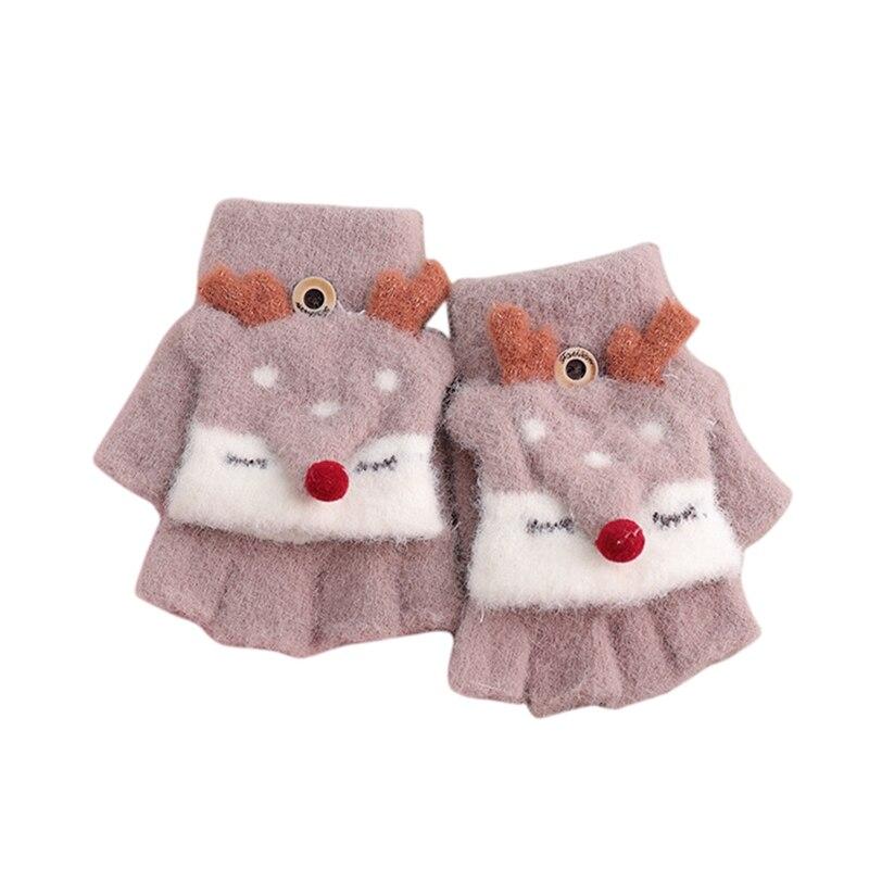 Зимние теплые детские перчатки с открытыми пальцами, детские вязаные перчатки с рисунком лося для мальчиков и девочек, перчатки с откидной крышкой, митенки Детские От 4 до 8 лет - Цвет: Khaki