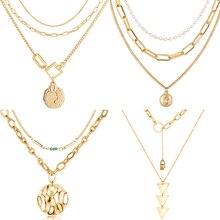 17 км Новая мода многослойное Золотое портретное ожерелье с кулонами в виде монет для женщин очаровательное классическое длинное ожерелье ювелирные изделия в стиле бохо