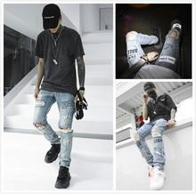 Mens Jeans  Tide High Street Fashion Style jeans Europe America Graffiti Print Cut Hole street leisure