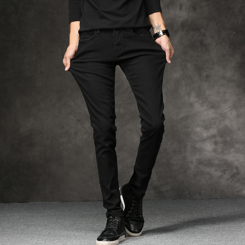 Summer MEN'S Trousers Black And White With Pattern Elasticity Jeans MEN'S Trousers Skinny Pants Slim Fit Slimming Korean-style T