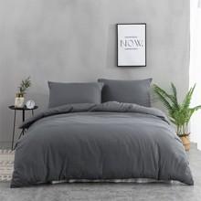 Parure de lit en coton lavé doux pour adulte, linge de lit, housse de couette, drap, taie d'oreiller, couleur unie