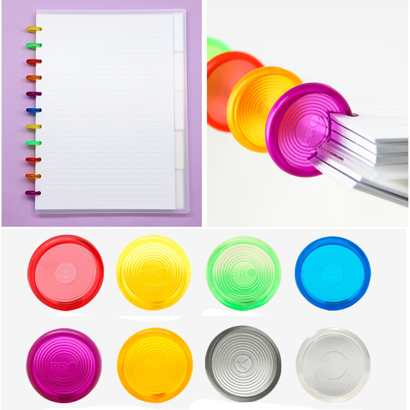 30PCS Color Mushroom Hole Plastic Binding Ring 24MM Notebook Plastic Loose-leaf Disc Binding Buckle 360 Degree Foldable Binding