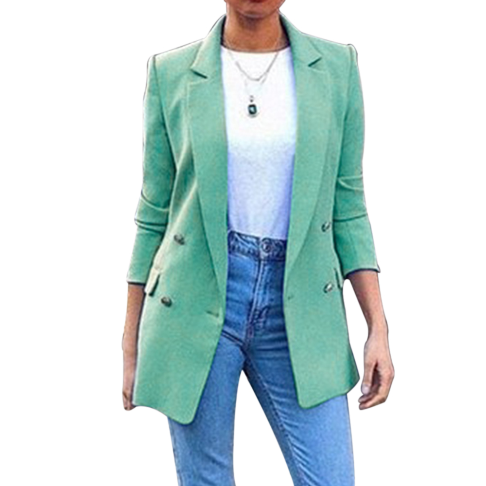 2019 Autumn New Blazer Womens Suit Blazer Office Ladies Turn Down Collar Casual Female Outerwear Long Solid Coats