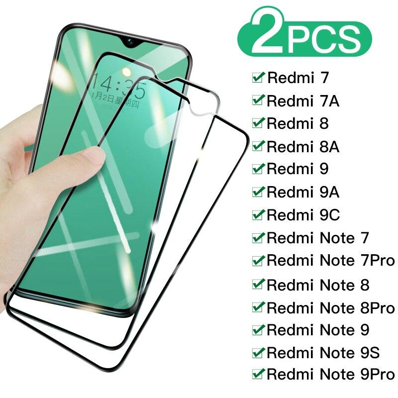 Защитное стекло 9H на весь экран для Redmi 9 9A 9C 8 8A 7 7A, пленка из закаленного стекла для Xiaomi Redmi Note 7 8 9 Pro 8T 9S, 2 шт.