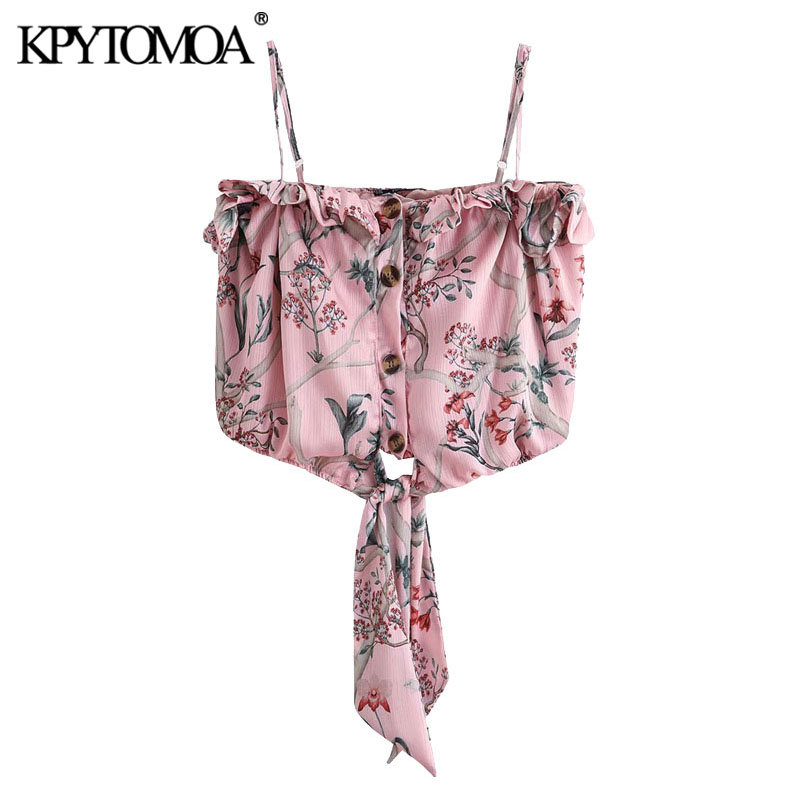 KPYTOMOA Women 2020 Sexy Fashion Floral Print Ruffled Cropped Blouses Vintage Bow Tied Thin Straps Female Shirts Blusa Chic Tops