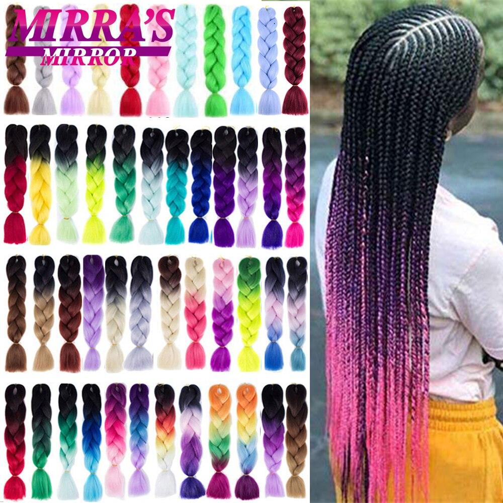 Mirra lustro 24 cal Jumbo warkocze włosy Omber włosy plecione przedłużanie włosów włosy syntetyczne dla Crochet Box warkocze czarny zielony różowy