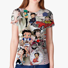 New Betty BOOP Summer Women T-Shirt Slim Fit Cartoon 3D Print Top Casual Female Funny Graphic Tee Home Gothic fashion clothing