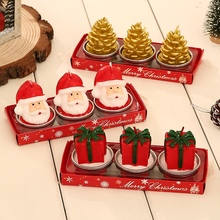 Christmas Candles Decoration Santa Snowman Pine Cone Candles Ornament For Party Holiday
