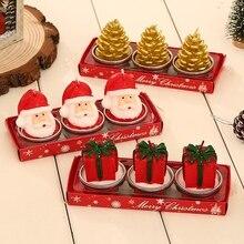 Christmas Candles Decoration Santa Snowman Pine Cone Candles