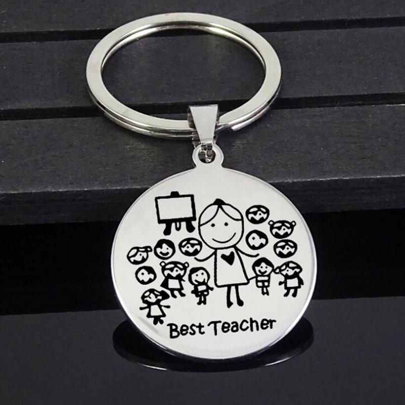 Stainless Steel Keychain Teacher Thanksgiving Gift Teacher'S Day Teacher Stainless Steel Jewelry Student Send Teacher Gift New