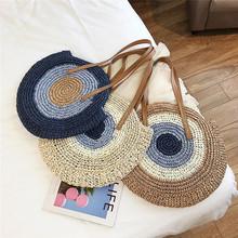 Okrągła ze słomy torby kobiety lato torebka ratanowa ręcznie tkane plaża torba crossbody słomy tkane czechy torba na zakupy tanie tanio CX*-1098