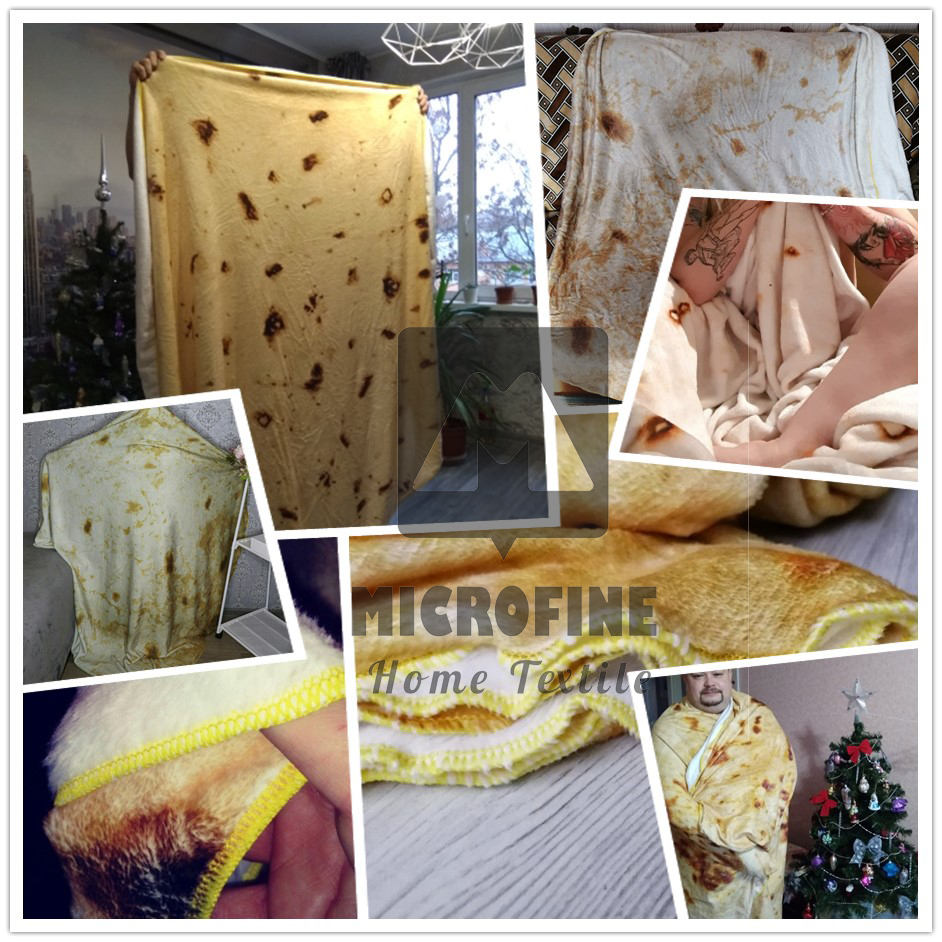 3D Corn Fleece Microfine Burrito Blanket Made of Flannel Fabric For Travel Use 5