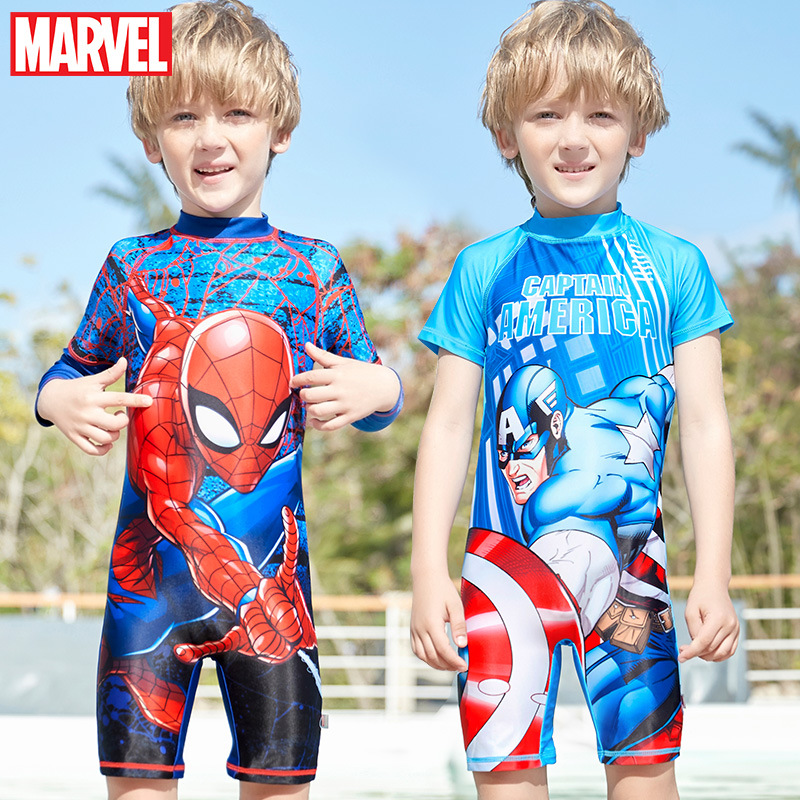 disney-font-b-marvel-b-font-new-children's-fashion-spider-man-swimsuit-captain-america-big-kids-sunscreen-boy-quick-drying-swimsuit