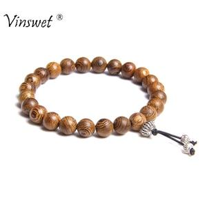 Bracelet Men Jewelry Pulseira Healing Balance Buddha Beads Reiki Prayer Yoga Wood Black Onyx Bracelets Gift Pulseras Mujer Femme(China)
