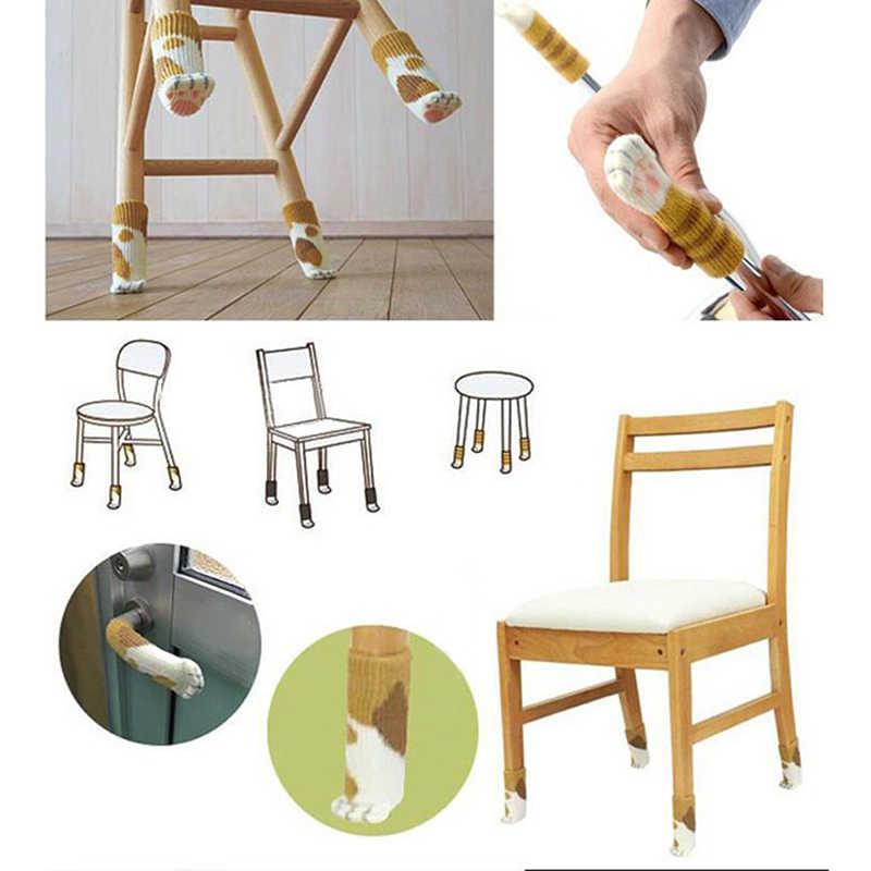 الحياكة القط نمط كرسي الساق الجوارب 4 قطعة المنزل الأثاث الساق حافظات الأرضية غير زلة أرجل طاولة غطاء Provent القط الخدش
