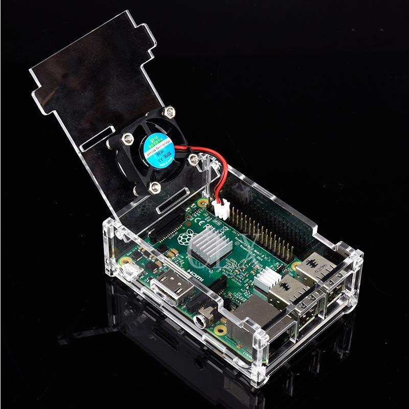 Raspberry pi 3b + capa acrílica transparente, caixa gabinete com ventilador para raspberry pi modelo b e modelo b +