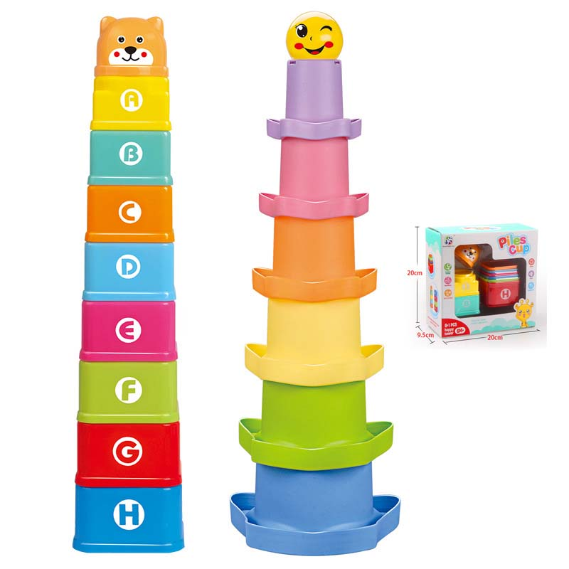 8PCS Educational Baby Toys 6Month Figures Letters Folding Stack Cup Tower Children Early Intelligence Alphabet Toy For Children