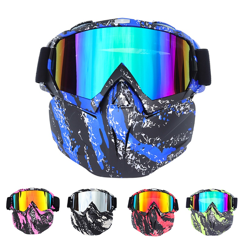 AISPORT Cycling Goggles Face Domino Detachable Protective Eyewear Outdoor Sports Motorcycle Riding Skiing Glasses QW