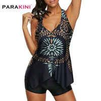 PARAKINI Swimwear Women Tankini Set 2020 New Irregular Two Piece Swimsuit Bathing Suit Print Plus Size Swimdress and Panty Suits