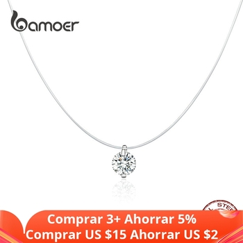 bamoer Silver Invisible Chain Necklaces pendants Rhinestone Choker Transparent Fishing Line Collier Femme SCN332 - discount item  41% OFF Fine Jewelry