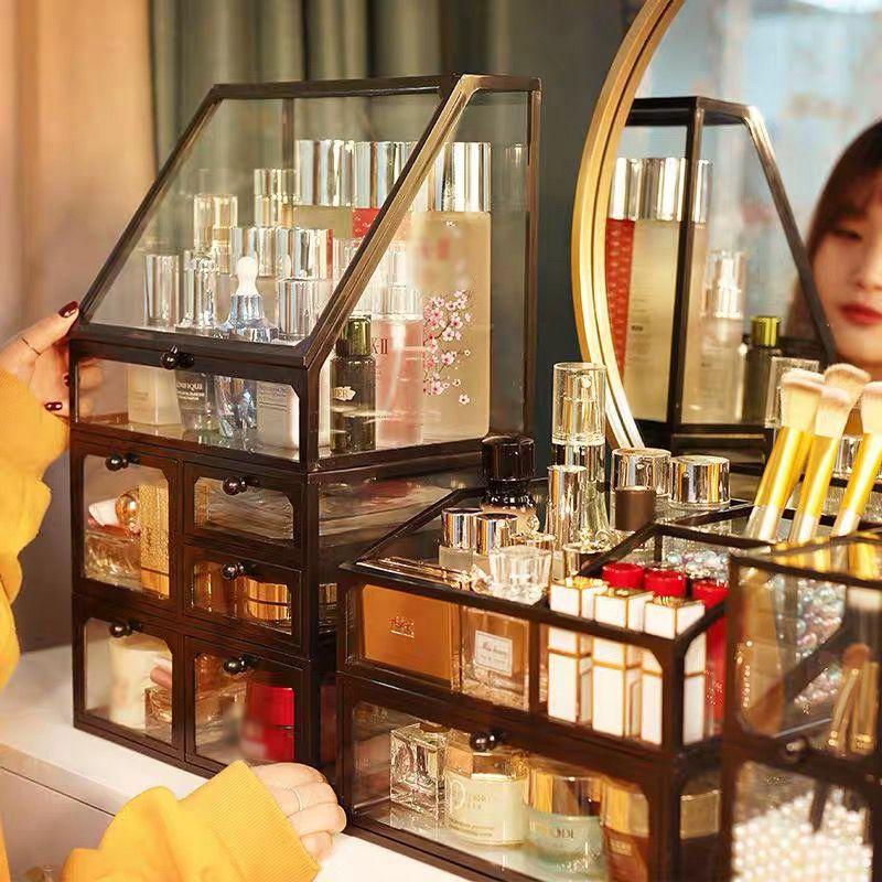 Caixa de vidro transparente, caixa de armazenamento de gavetas transparente, de desktop, para cuidados com a pele, prateleira, joias, colar, organizador de maquiagem