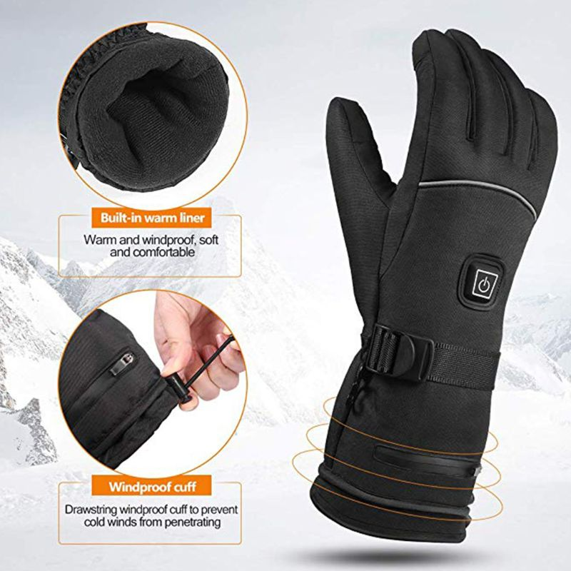 Men Women Winter Electric Heated Gloves With Reflective Strip Battery Powered Y98F