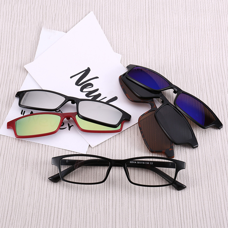 Polarized <font><b>Sunglasses</b></font> <font><b>Men</b></font> <font><b>5</b></font> <font><b>in</b></font> <font><b>1</b></font> <font><b>Magnetic</b></font> <font><b>Clip</b></font> <font><b>On</b></font> Sun Glasses Women UV400 Rectangle Optical Myopia Prescription Eyeglasses Frame image