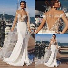 Suknie ślubne syrenka 2019 Off the Shoulder koronkowe aplikacje bez rękawów otwórz wróć Boho ślub suknia ślubna Vestido De Noiva