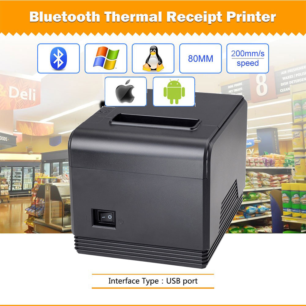 Wholesal High Quality 80mm Automatic Cutting Thermal Printer Receipt Machine Printing Speed 200mm/s USB + Bluetooth Interface