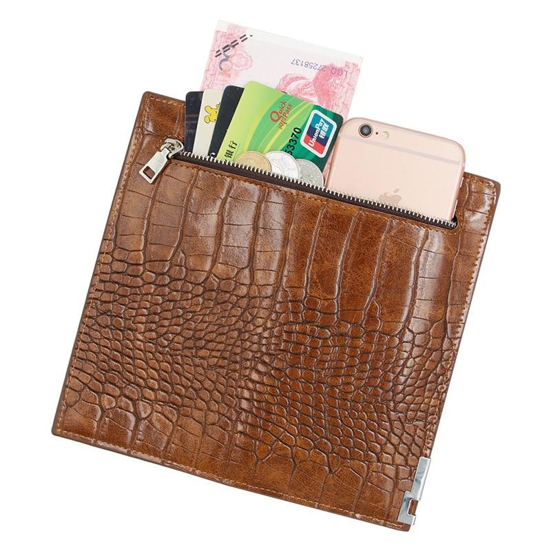 Купить с кэшбэком leather wallet alligator long zipper clutch luxury Retro money clip men purse PU crocodile leather small coins bag thin wallet