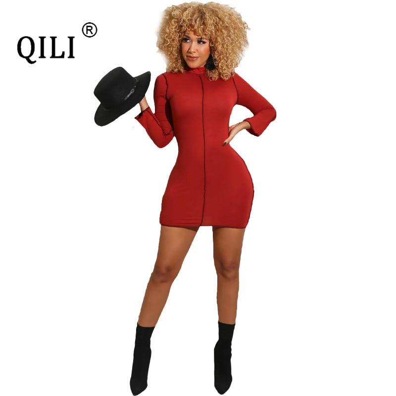Купить qili осенне зимнее платье с длинными рукавами + маска облегающее