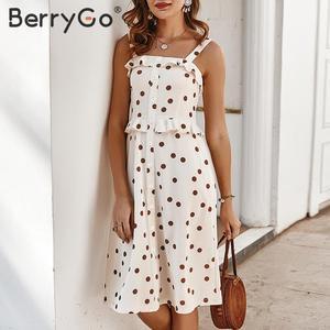 Image 5 - BerryGo Polka dot kadın yaz elbisesi rahat spagetti askıları düğmeler kadın fırfır elbise yüksek bel bayanlar tatil vestidos 2020