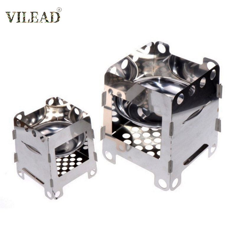 VILEAD 3 Size Outdoor Camping Wood Stove Portable Folding Wood Muti Fuel Burner Heater Fishing Hiking Travel Camping Equipment image