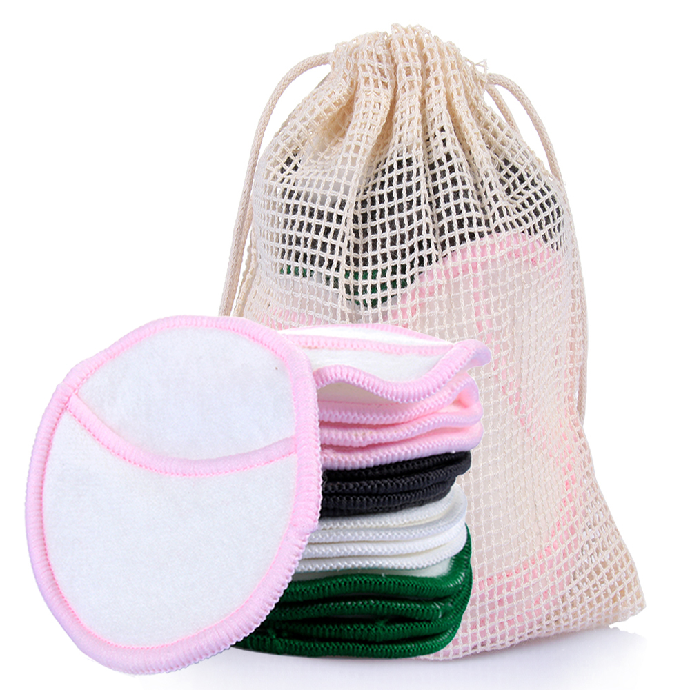 New 4/5Pcs Reusable Bamboo Fiber Washable Rounds Pads Cotton Makeup Removal Pads Facial Skin Care Nursing Pads Skin Cleaning