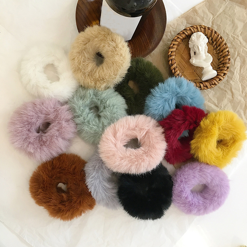 2019 New Winter Warm Soft Rabbit Fur Scrunchie Women Girls Elastic Hair Bands Plush Hair Rope Rubber Bands Hair Accessories