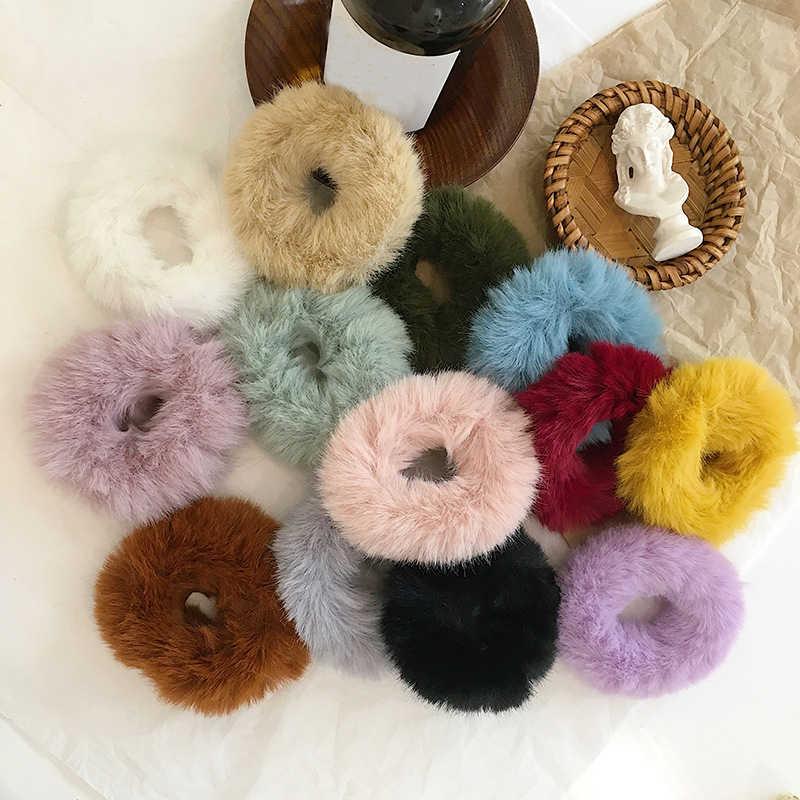2019 חדש חורף חם רך ארנב פרווה גומיית נשים בנות אלסטי להקות שיער קטיפה שיער חבל גומי להקות שיער אביזרים