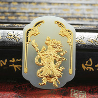 Natural Chinese Hetian White Jade Mosaic Gold Pendant Guan Yu Beautiful Jewellery Necklace Carved Fashion for Men Amulet Gifts