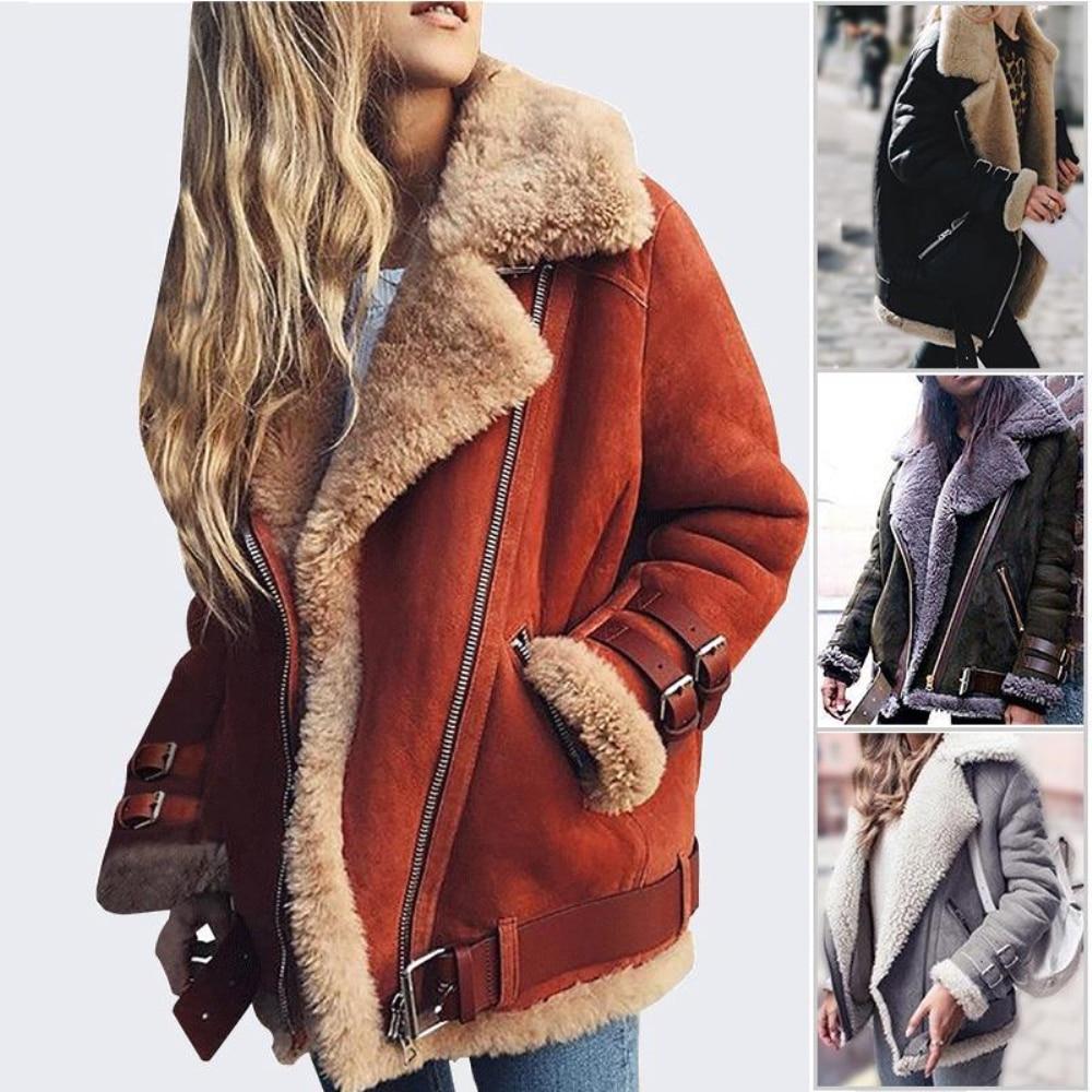 Wipalo 2019 S-5XL Plus Size Women Autumn Winter Lambs Wool Liner Coat Solid Leather Jacket Fur Tops Locomotive Warm Zipper Coat