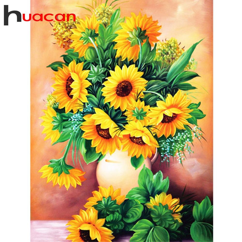 Huacan 5D DIY Diamond Painting Full Square/Round Sunflowers Diamond Embroidery Sale Kit Rhinestones Mosaic Garden Decor