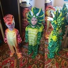 цены New Triceratops Costume Boys Kids Little T-Rex Costume Cosplay Dinosaur Jumpsuit Halloween Cosplay Christmas costumes for kids