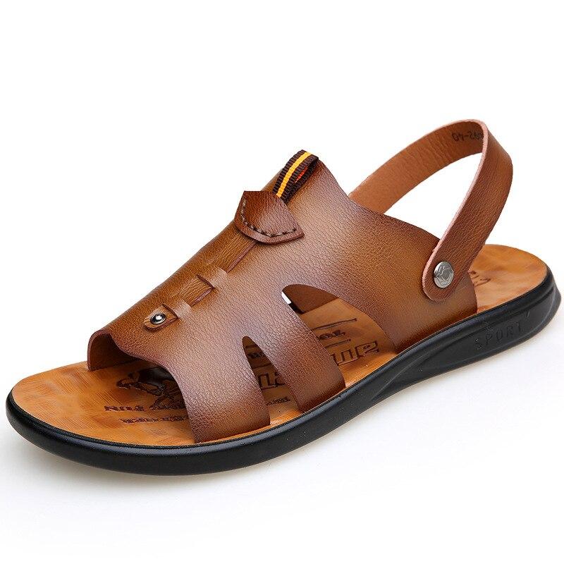 Sandals Men shoes 2020 Men's Fashion Breathable Summer Shoes Leather Sandals Shoes Slides Outdoor Slippers Soft Sandals