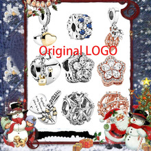 Winter New 925 Sterling Silver Beads Sparkling  Stars and snowflakes Charms fit Original Pandora Bracelet Christmas Jewelry