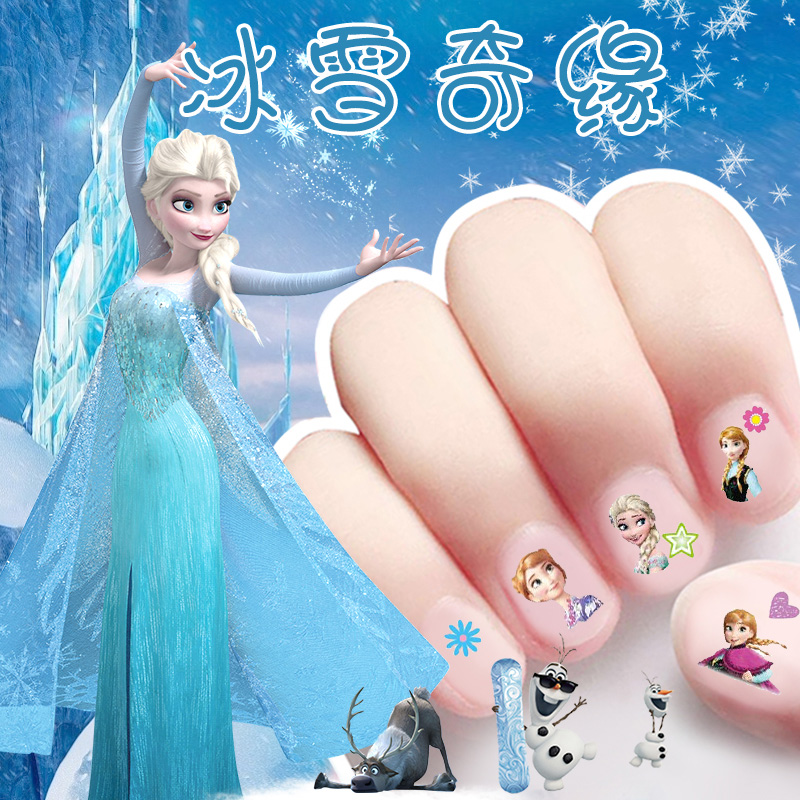 Disney Girls Frozen Princess  Nail Stickers Lady Snow White Sophia Mickey Minnie Kids Makeup Toys