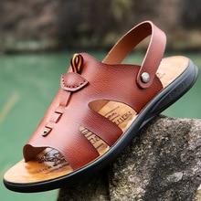 Classic Men's Sandals Summer Casual Leather Men Slippers Roman Designer Men Beach Sandals Soft Comfortable Man Outdoors Shoes men genuine leather sandals summer classic shoes slippers soft sandals men roman comfortable walking footwear