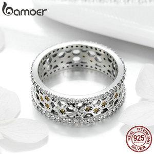 Image 3 - BAMOER מכירה לוהטת 925 סטרלינג כסף מלכת דבורה משושה ברור CZ גדול טבעת לנשים דבורה תכשיטים S925 SCR391