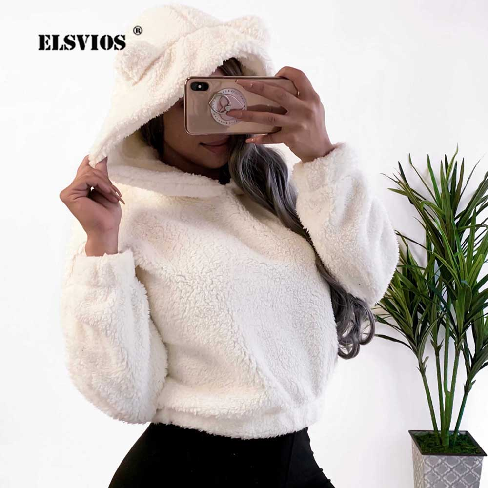 ELSVIOS Cute Women Fleece Hoodies 2019 Long Sleeve Hooded Pullover Sweatshirt Autumn Winter Soft Warm Crop Hoodies Sweatshirts